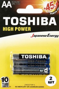 Батарейки TOSHIBA Alkaline LR06 пальчиковые АА 2 шт